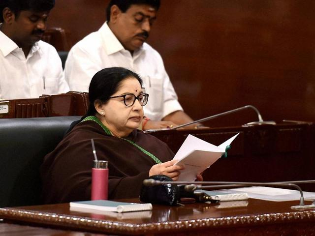 "Tamil Nadu chief minister J Jayalalithaa listens to Governor K Rosaiah's inaugural address at the ""15th Tamil Nadu Assembly""."