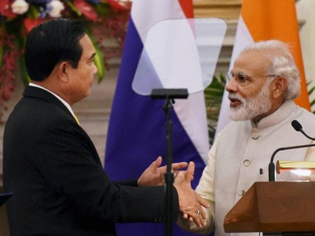 Prime Minister Narendra Modi with his Thailand Counterpart General Prayut Chan-o-cha after joint press statement at Hyderabad house in New Delhi on Friday.