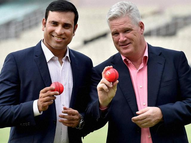 Former Indian Cricketer VVS Laxman and former Australian all rounder Dean Jones poses with Pink ball.