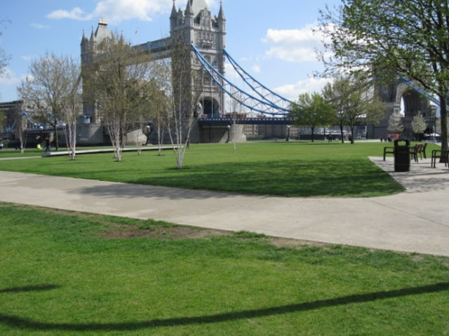 Potters Field Park on the southern side of the Thames with its sweeping views of the river and iconic sights of Tower Bridge, the Tower of London and the 'Gherkin' is the location of this year's International Yoga Day on Sunday