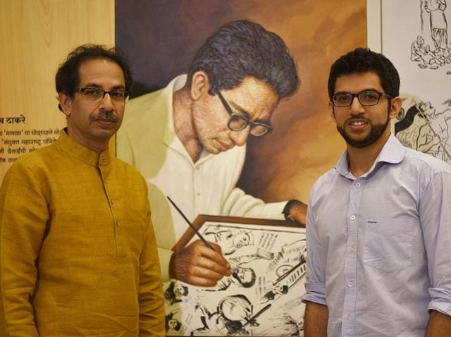 Shiv Sena chief Uddhav Thackeray with his son and Yuva Sena head Aaditya at Samyukta Maharashtra Memorial Museum near Shivaji Park.