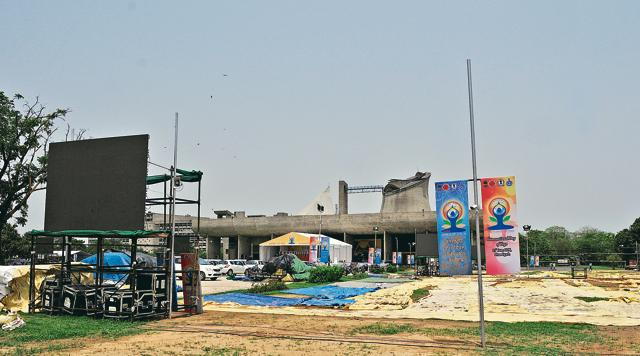 Tents put up at the Capitol Complex ahead of the International Yoga Day.