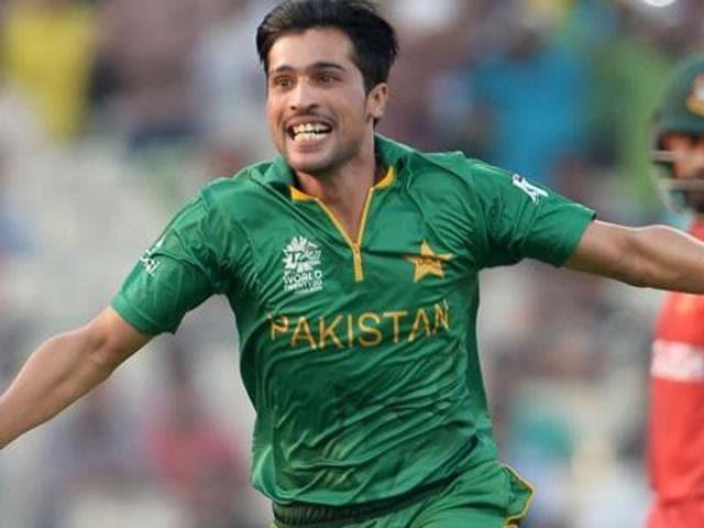 Pakistan's Mohammad Amir celebrates after the dismissal of Bangladesh's Soumya Sarkar.