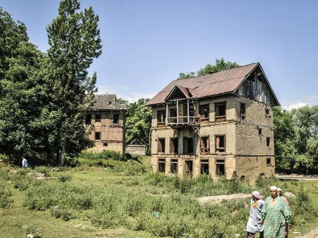 Old, deserted Pandit houses in the Haal area in Kashmir's Pulwama district