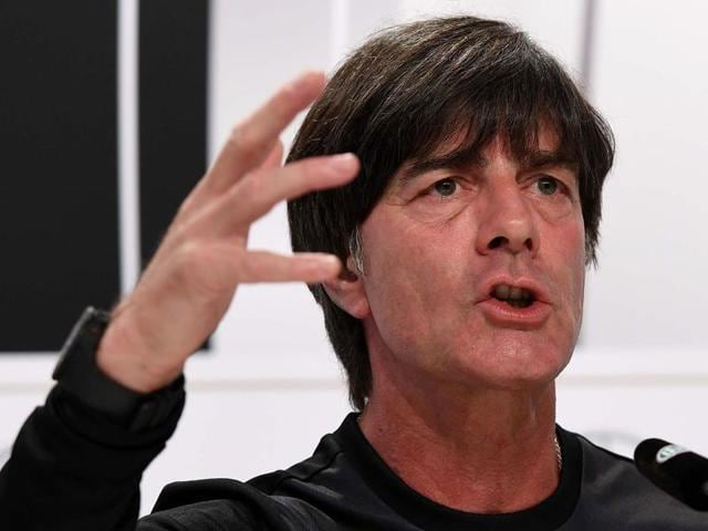 Germany's coach Joachim Loew looks over at the start of the Euro 2016 group C football match.