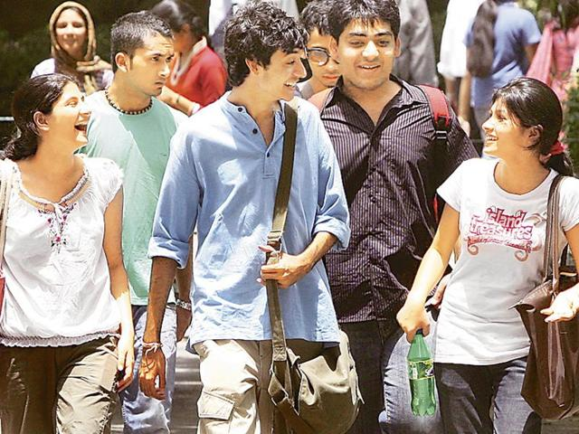 Students at Delhi University North Campus in New Delhi. A government committee has recommended time limit for enrolment in a course and occupying hostels.