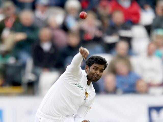 Sri Lanka's Shaminda Eranga has been banned from bowling in international cricket with immediate effect because of an illegal action.