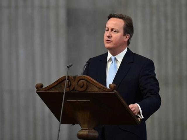In this file photo, Britain's Prime Minister David Cameron can be seen  speaking during a service of thanksgiving for Queen Elizabeth's 90th birthday at St Paul's Cathedral in London.