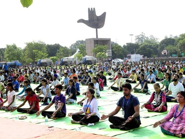 Participants during the full dress rehearsal ahead of the International Yoga Day at Capitol Complex on Sunday.