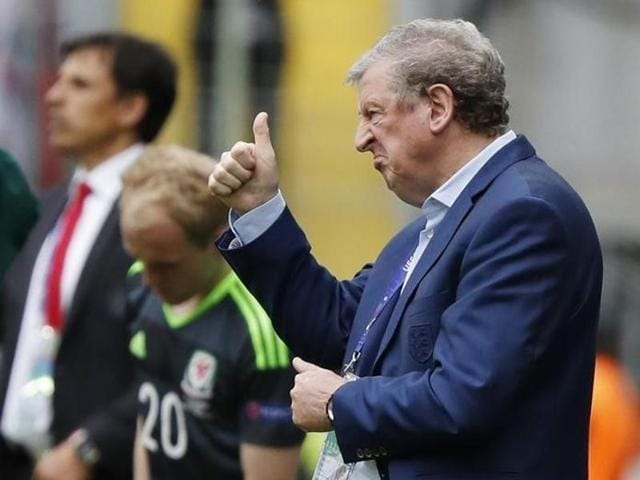 England's coach Roy Hodgson stands by the bench during the Euro 2016 Group B football match between England and Wales at the Bollaert stadium in Lens, France.