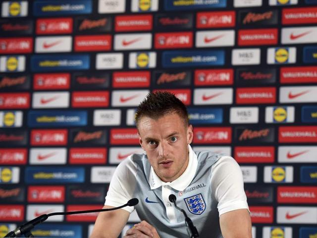 England forward Jamie Vardy attends a press conference in Chantilly during the Euro 2016 football tournament.