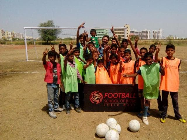 Players of Football School of India at Rajeev Gandhi College. These children gave up their habit of chewing tobacco to play football and lead a healthy life.