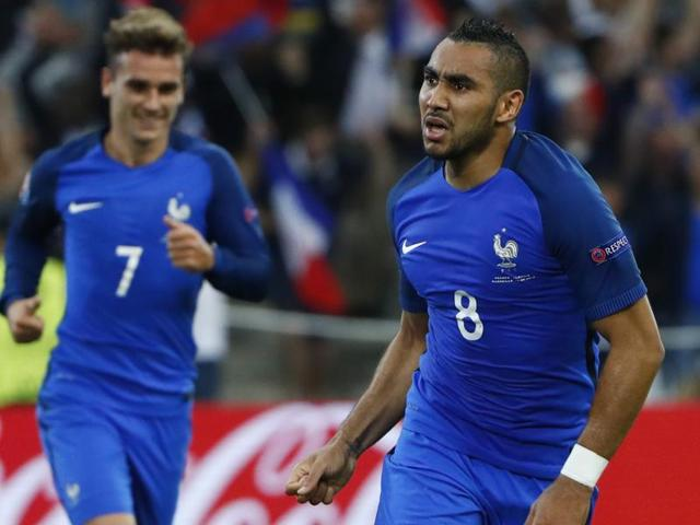 France's Dimitri Payet celebrates after scoring their second goal.
