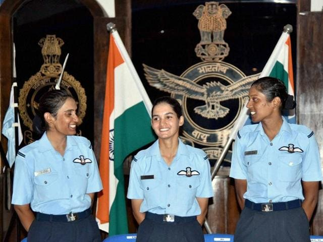 Women fighter pilots Avani Chaturvedi, Bhavana Kanth and Mohana Singh pose for photograph during their Combined Graduation Parade at Air Force Academy in Hyderabad .