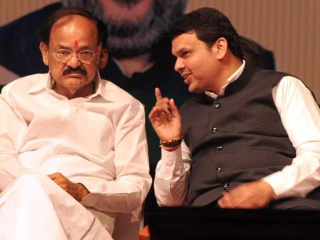 (From right) Maharashtra chief minister Devendra Fadnavis, Union minister and in-charge of BJP's affairs in the state, Venkaiah Naidu, and Eknath Khadse at the party's executive meet in Pune on Saturday.