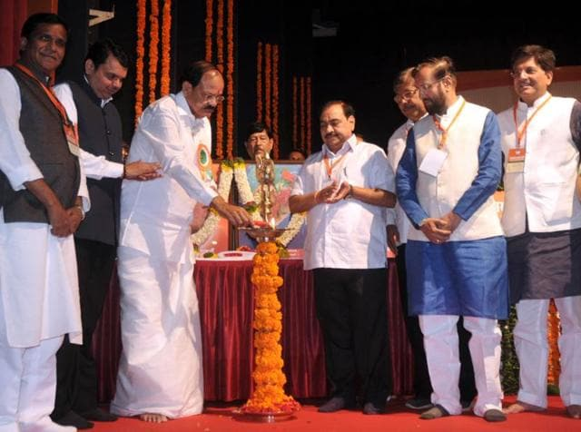 Union minister and in-charge of BJP's affairs in the state, Venkaiah Naidu, inaugurates the two-day executive meet of the party's Maharashtra unit at the Bal Gandharv auditorium in Pune on Saturday.