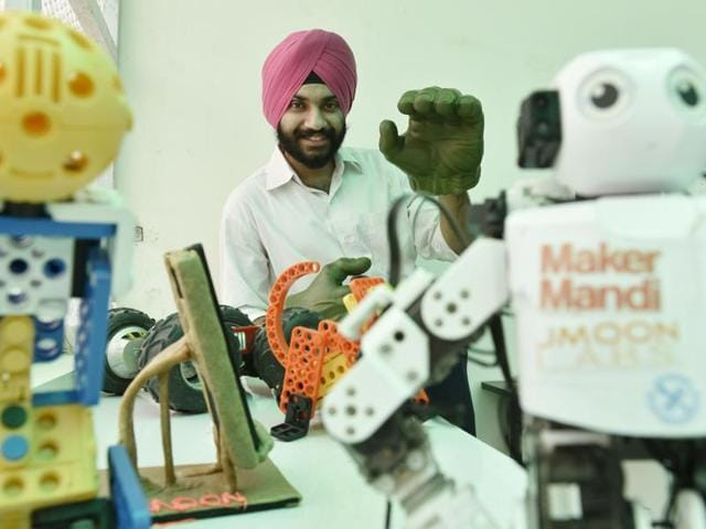 Whether it's art installations, humanoid robots or laser-cut leather installations, makerspaces in India are the go-to places for people looking to be creative, tinker or make something new.(Satish Bate, Saumya Khandelwal and Ashok Nath Dey/ HT Photo)