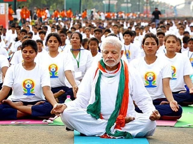 Prime Minister Narendra Modi joined nearly 37,000 fellow participants at Rajpath to mark the International Day of Yoga last year.