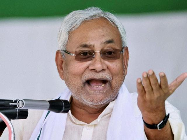 Bihar chief minister Nitish Kumar addresses a convention for a campaign against alcohol at Palamu in Jharkhand on Sunday.