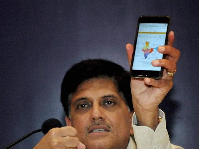 Cavelossim village: Minister of State for Power, Coal and New and Renewable Energy Piyush Goyal addresses a press conference in Cavelossim village, Goa on Thursday. PTI Photo(PTI6_16_2016_000099A)