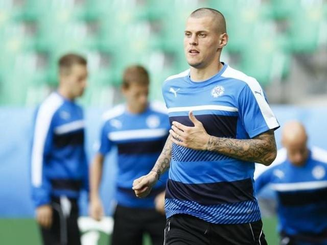 Slovakia's Martin Skrtel during training at Stade Geoffroy Guichard, Saint-Etienne in France.