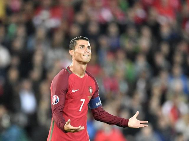 Portugal's Cristiano Ronaldo gestures during the Euro 2016 Group F soccer match between Portugal and Austria at the Parc des Princes stadium in Paris