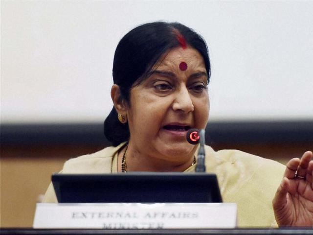 External affairs minister Sushma Swaraj speaks at a press conference in New Delhi on Sunday.