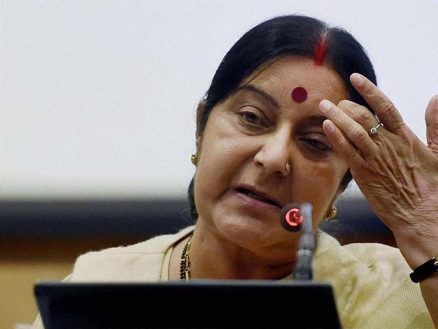 External affairs minister Sushma Swaraj addresses a press conference in New Delhi on Sunday.