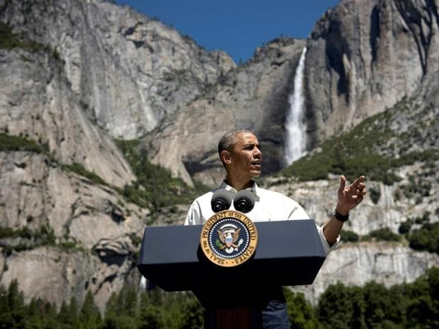 US President Barack Obama speaks while celebrating the 100th anniversary of the US National Parks system at Yosemite National Park, California.