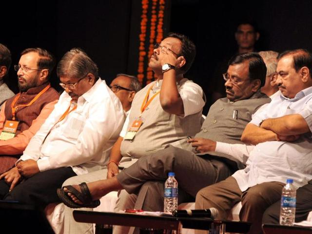BJP leaders at the meet on Sunday.