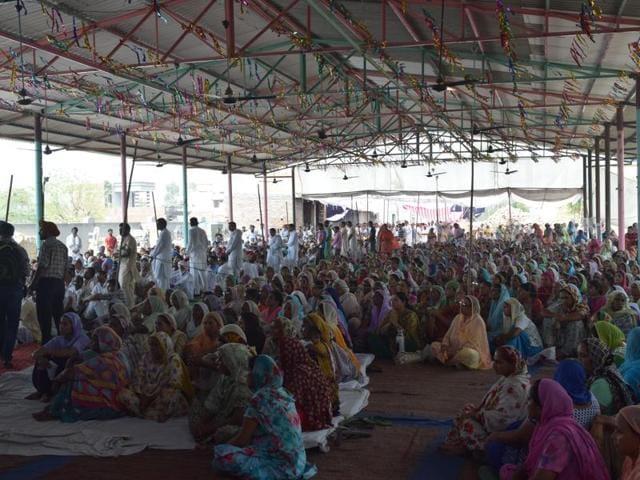 Dera Sacha Sauda followers gathered at Kotkapura before Gurdev Singh's body was taken for cremation to Burj Jawahar Singh Wala village in Faridkot on Sunday.