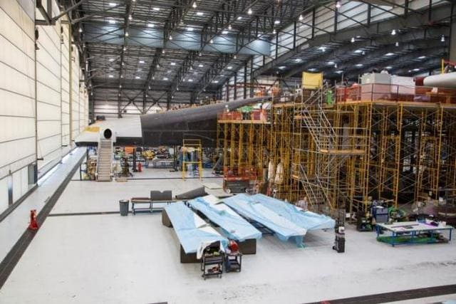 Vulcan Aerospace's Stratolaunch rockets' left fuselage assembly is shown under construction by Northrop Grumann Scaled Composites at the Mojave Air and Space Port in Mojave, California, U.S. in this handout photo released to Reuters June 19, 2016.