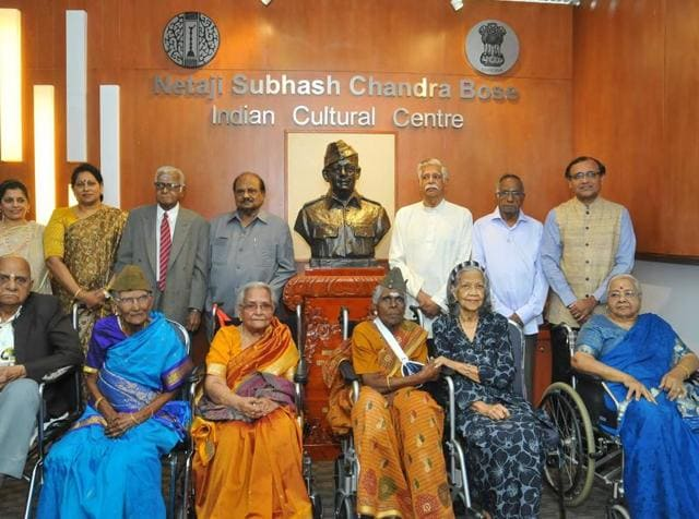 A photo shared on the Facebook page of Netaji Subhash Chandra Bose Indian Cultural Centre, Kuala Lumpur shows INA veterans with the bronze statue of Netaji