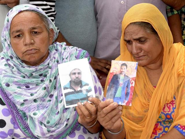 Kin of the youths, who were allegedly abducted by the Islamic State militia two years ago in Iraq, at a press conference in Amritsar on Sunday.