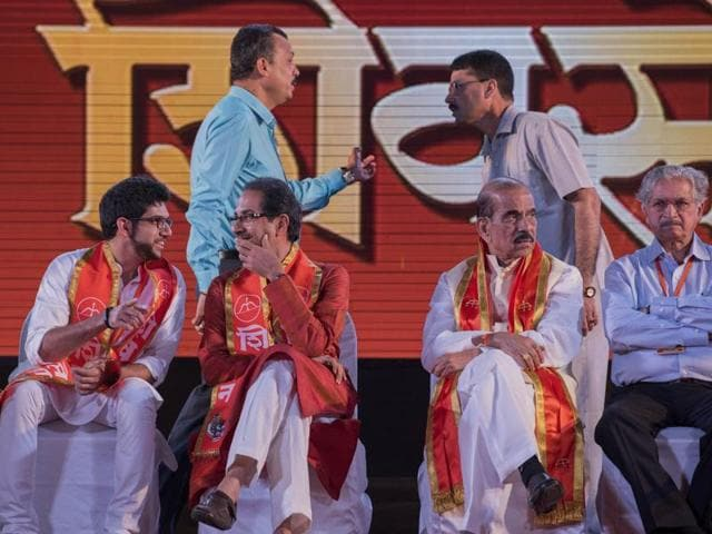 Shiv Sena chief Uddhav Thackeray (second from left) with other leaders at the rally.