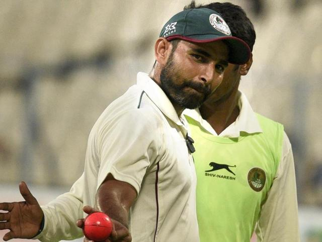 Mohammed Shami took five for 42 with the pink ball at Eden on Sunday.