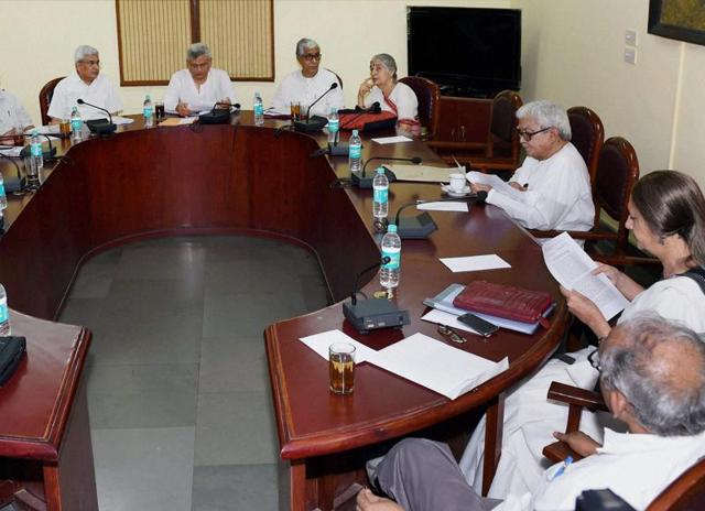 CPI (M) general secretary Sitaram Yechury presides over a politburo meeting at the party office in New Delhi.