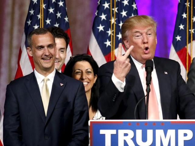 Republican US presidential candidate Donald Trump with Corey Lewandowski, who has been dropped as the billionaire's campaign manager.