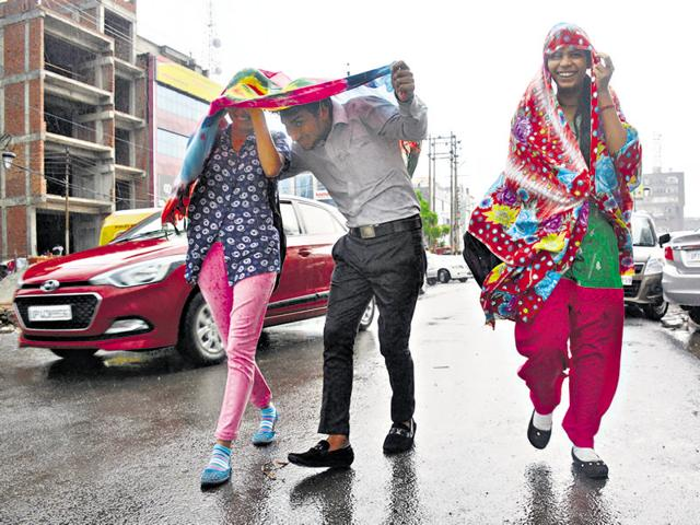 Residents of Ghaziabad were caught in thundershowers on Monday.