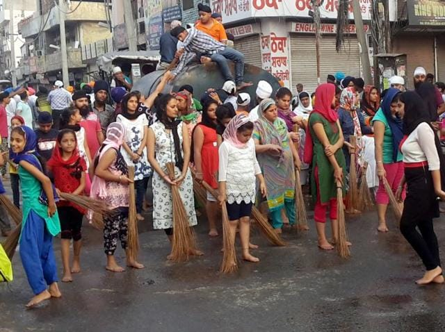 A religious procession taken out to commemorate the birth anniversary of Sikh Guru Har Gobind in Ludhiana on Sunday.