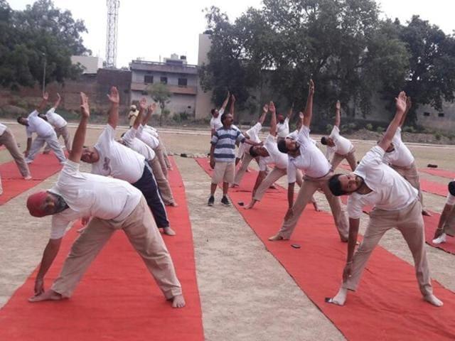 People performing yoga in Jalandhar.