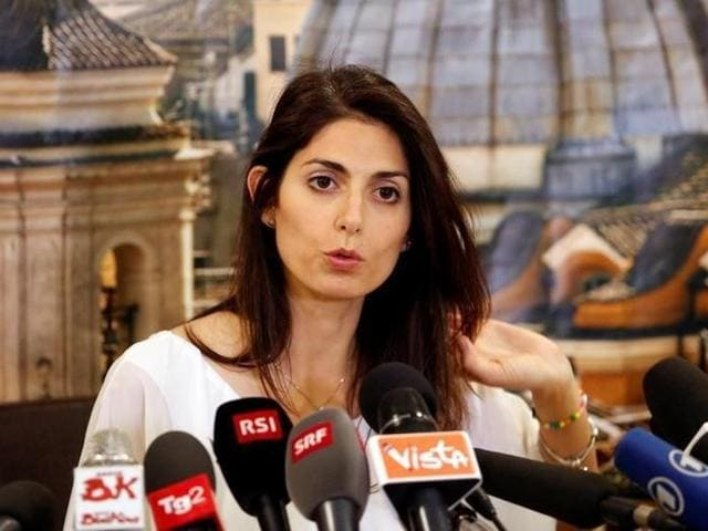 Rome's newly elected mayor, Virginia Raggi, of 5-Star Movement, talks during a news conference in Rome, Italy.