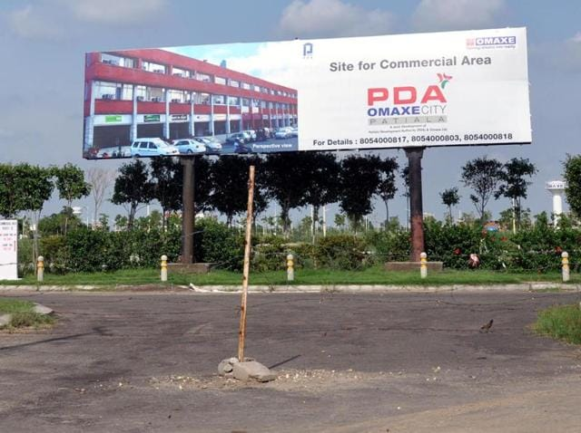 A view of the PDA-Omaxe City township on the Sirhind road in Patiala.
