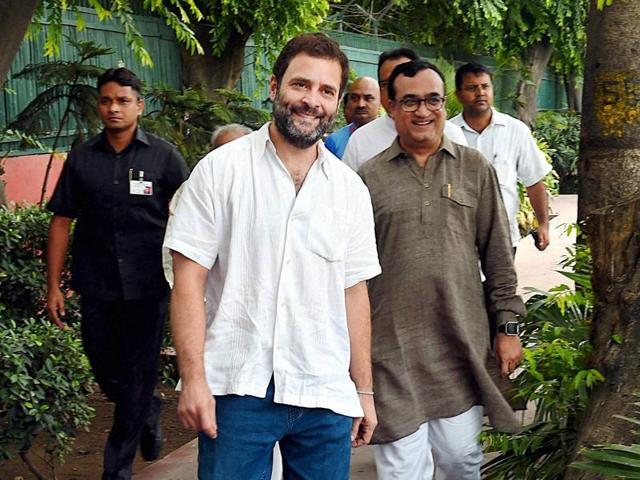 Congress vice-president Rahul Gandhi along with DPCC president Ajay Maken at AICC headquarters in New Delhi.