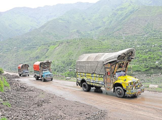 Trucks carrying goods from across the border pass through the Srinagar-Muzaffarabad road to the Salamabad Trade Facilitation Centre near Uri.