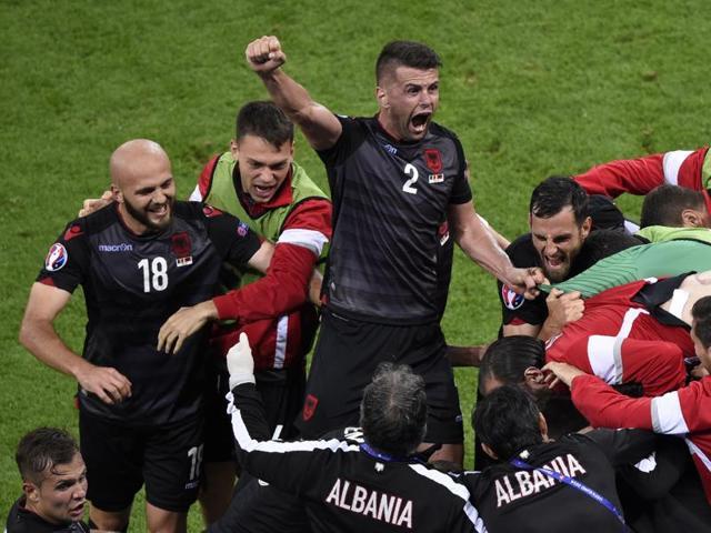 Armando Sadiku celebrates after scoring.