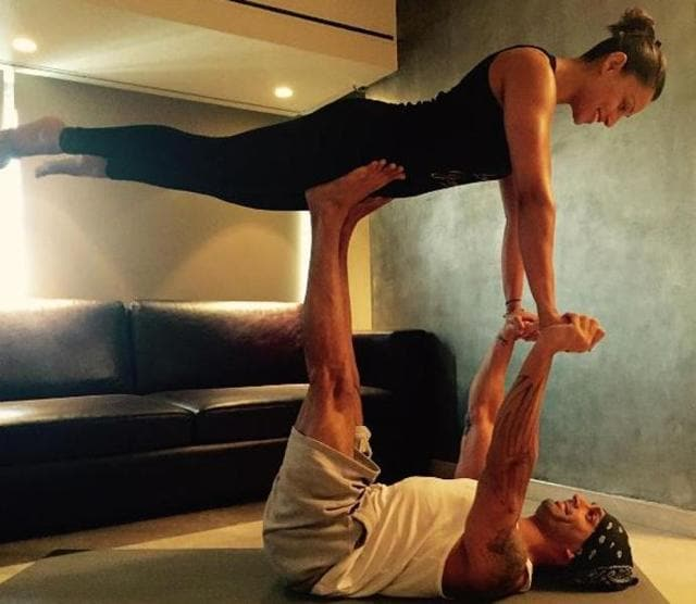 Newly-weds Karan Singh Grover and Bipasha Basu celebrate Yoga Day in their own way.