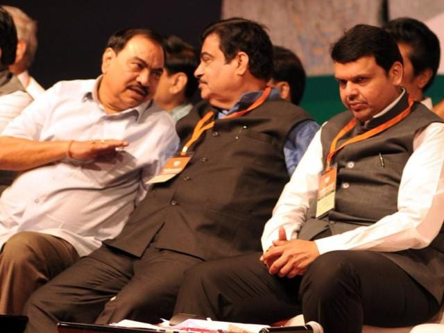 (From right) Maharashtra CM Devendra Fadnavis with Union minister Nitin Gadkari and ousted revenue minister Eknath Khadse at the BJP state executive committee meet in Pune recently.