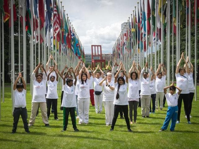 From Chandigarh to Madhya Pradesh and from London to Geneva, people from all walks of life performed postures of the ancient discipline