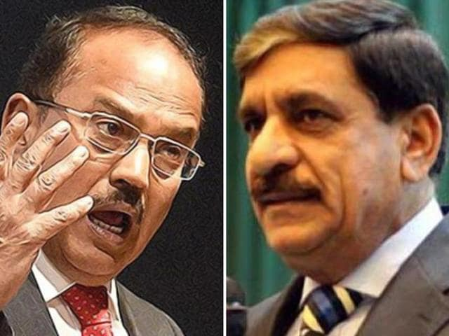 A combination photo of national security advisor Ajit Doval and his Pakistani counterpart Nasser Khan Janjua.